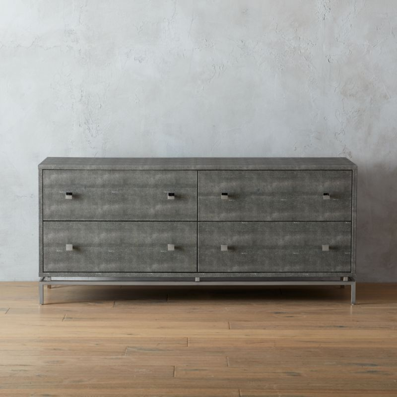 Charmant Ivory Shagreen Embossed Low Dresser + Reviews | CB2