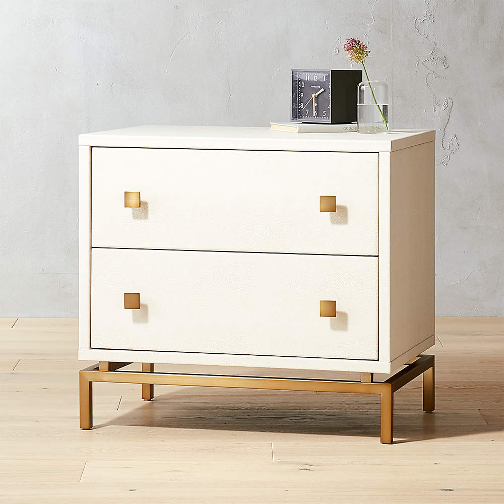 Ivory Shagreen Embossed Nightstand Reviews Cb2 Canada