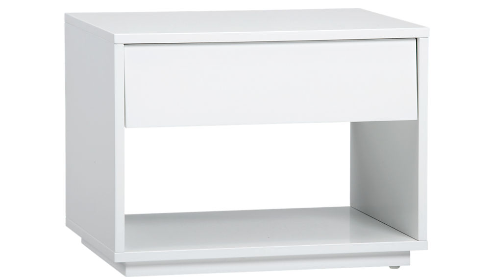 White Narrow Nightstand With Double Drawers And Shelf