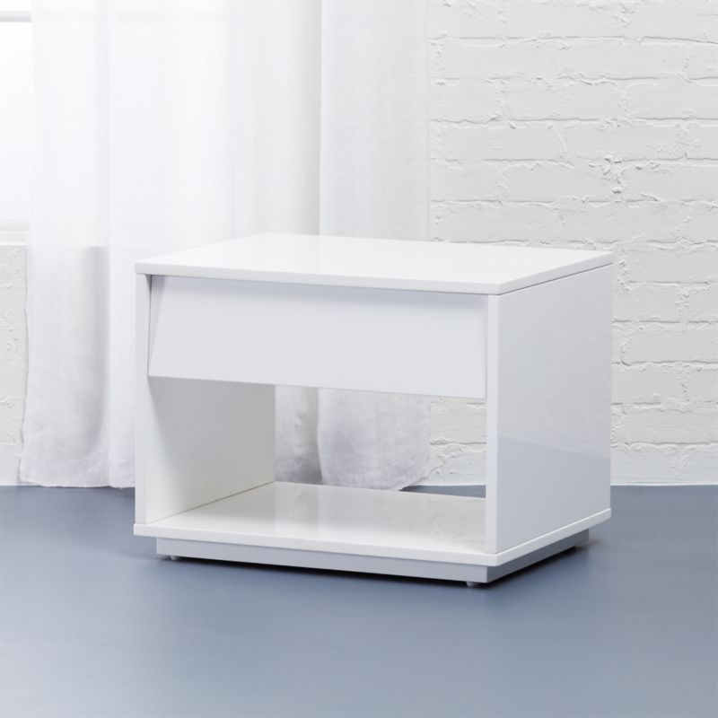 shake white lacquer nightstand + reviews | cb2 Funky Modern Nightstands