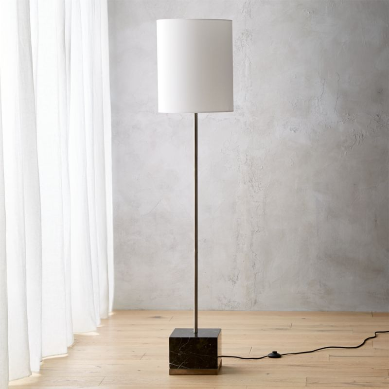 Modern black floor lamps cb2 sharp black marble floor lamp aloadofball Gallery