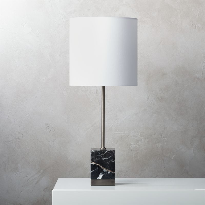 Sharp Black Marble Table Lamp + Reviews | CB2
