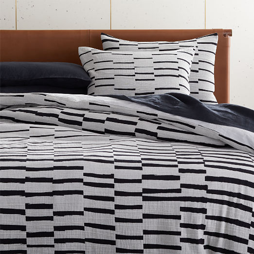 Shawn Black and Grey Stripe Duvet Cover