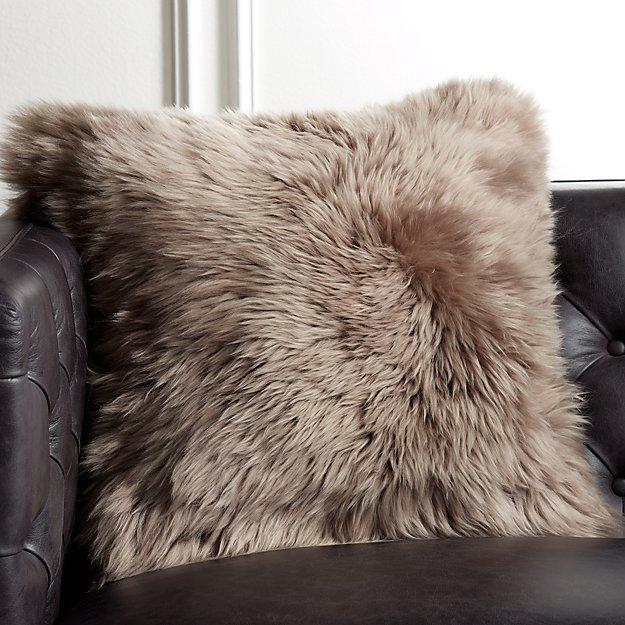"""20"""" Brown Sheepskin Pillow - Image 1 of 5"""