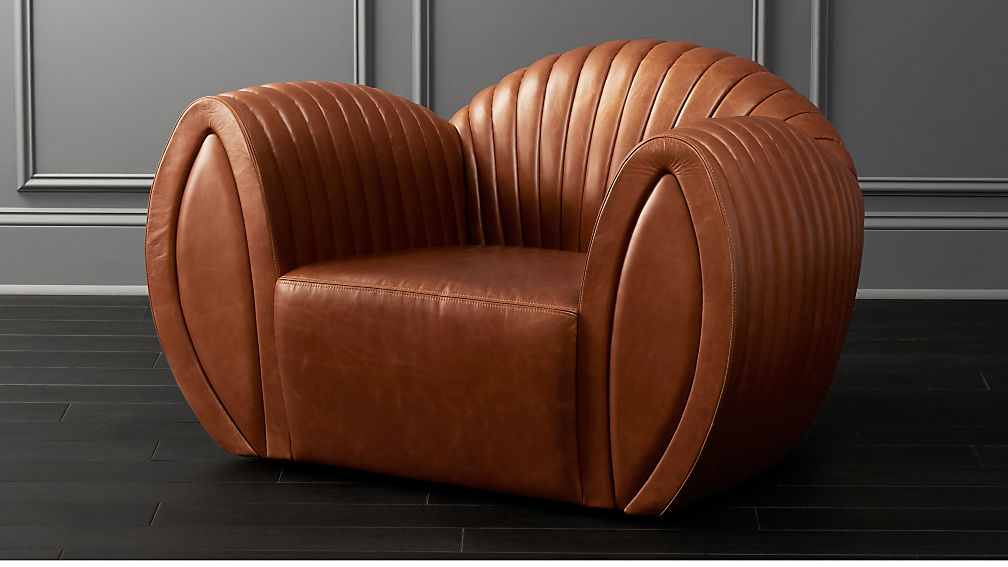 Leather Shell Armchair - Image 1 of 9