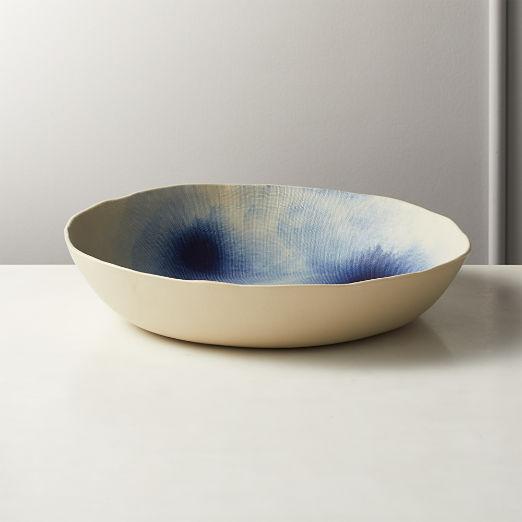 Shibori Blue and White Serving Bowl