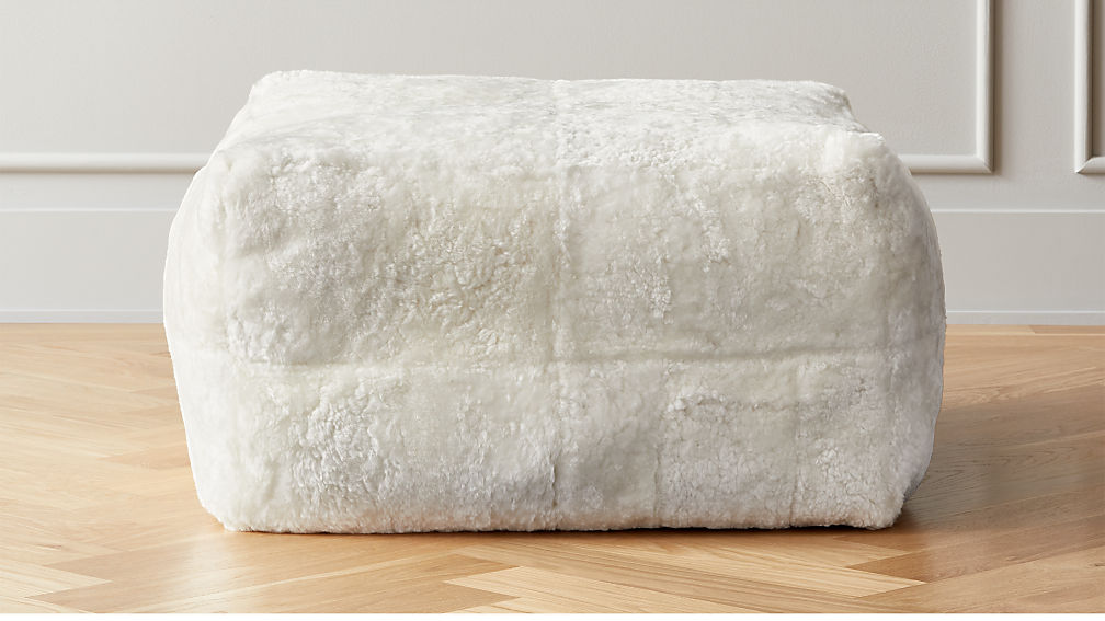 White Shorn Sheepskin Pouf - Image 1 of 2