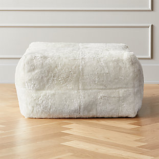 White Shorn Sheepskin Pouf