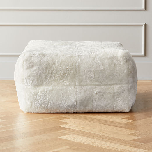 White Shorn Sheepskin Pouf