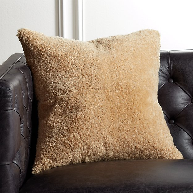 "18"" Shorn Sheepskin Camel Pillow - Image 1 of 6"