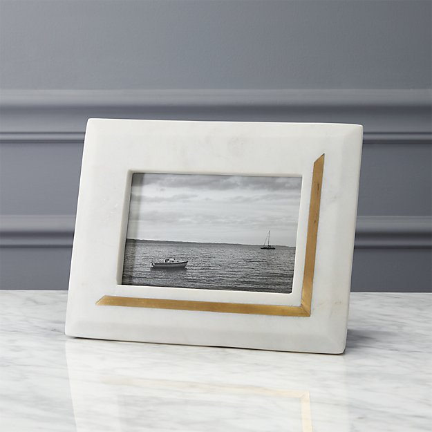 Silas Marble Brass 4x6 Picture Frame Reviews Cb2