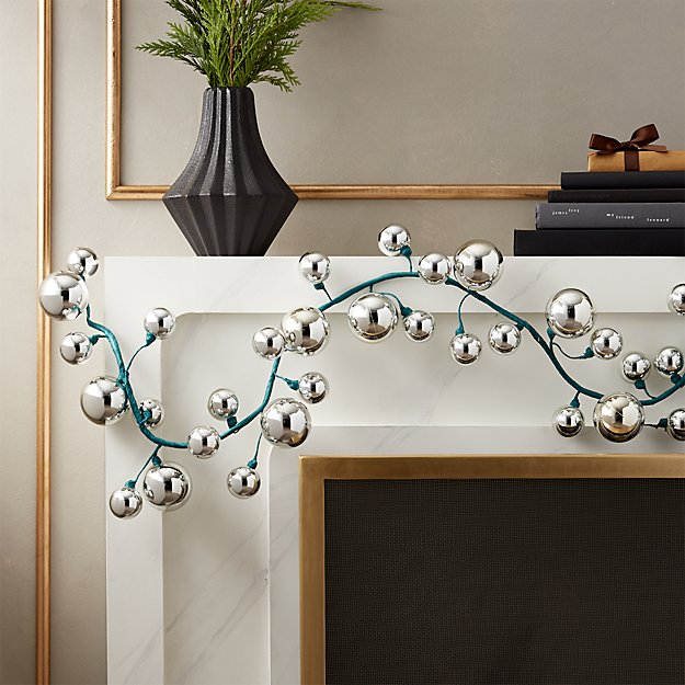 Silver Ball Garland with Peacock Blue - Image 1 of 6