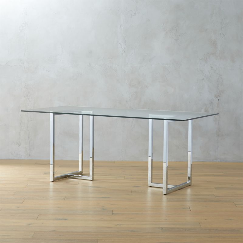 glass dining tables CB2