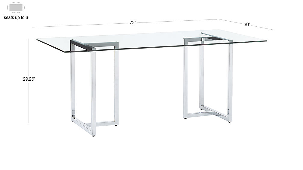 "Image with dimension for silverado chrome 72"" rectangular dining table"