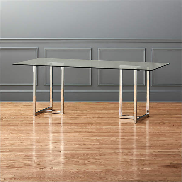 Kitchen Dining Table Rectangle Glass Top with Metal Legs in Wooden Color Modern Dinner Table Office Desk