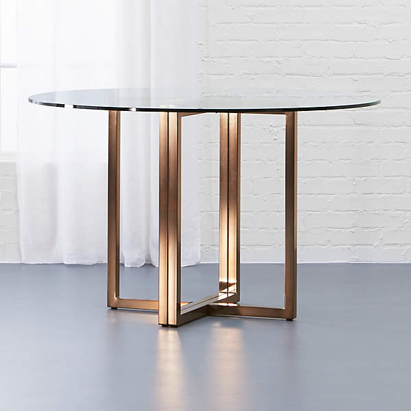 Silverado Brass And Glass Dining Table, Glass Round Dining Table