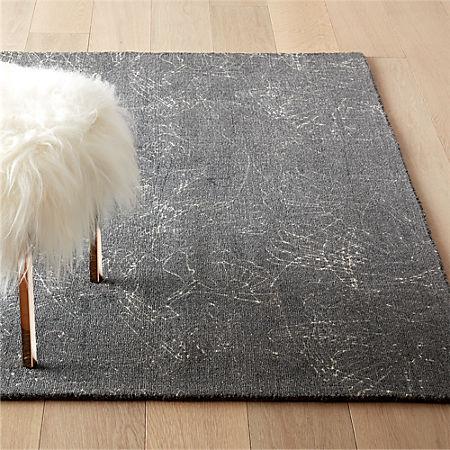 Sketch Grey Wool Pile Rug