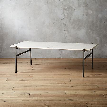 Large Slab Marble Coffee Table With Antiqued Silver Base