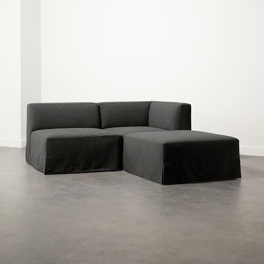 Slipcover Grey Modular 3-Piece Sectional Sofa