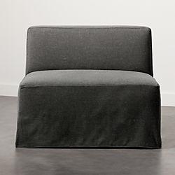Slipcover Grey Modular Armless Chair