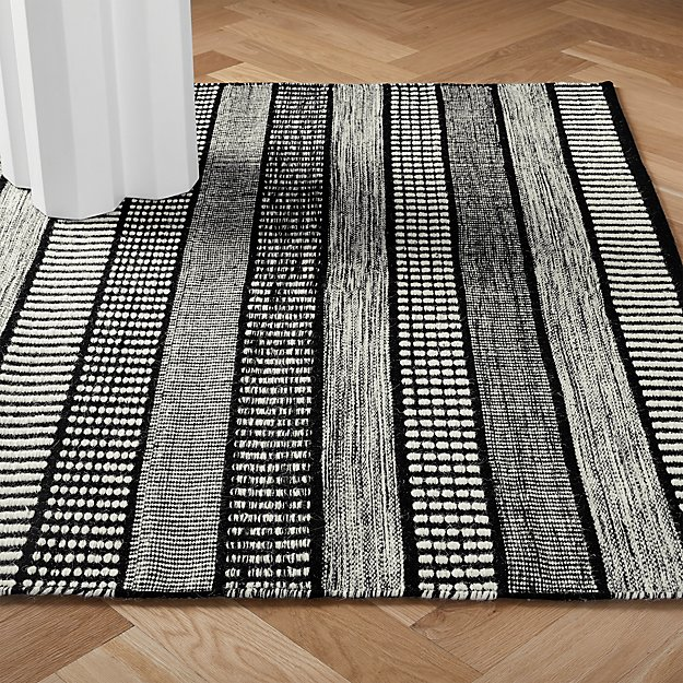 Sloane Handloom Back and White Striped Rug - Image 1 of 3