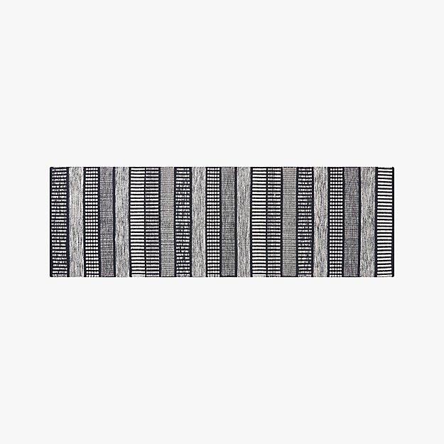 Sloane Handloom Black and White Striped Runner 2.5'x8' - Image 1 of 4