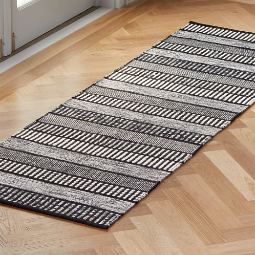 Sloane Handloom Black and White Striped Runner 2.5'x8'