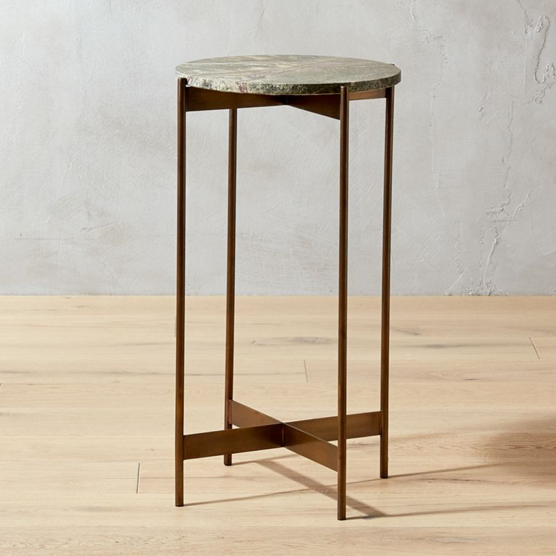 Small Bronze And Marble Pedestal Table