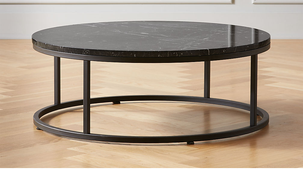 Smart Round Black Marble Coffee Table - Image 1 of 4
