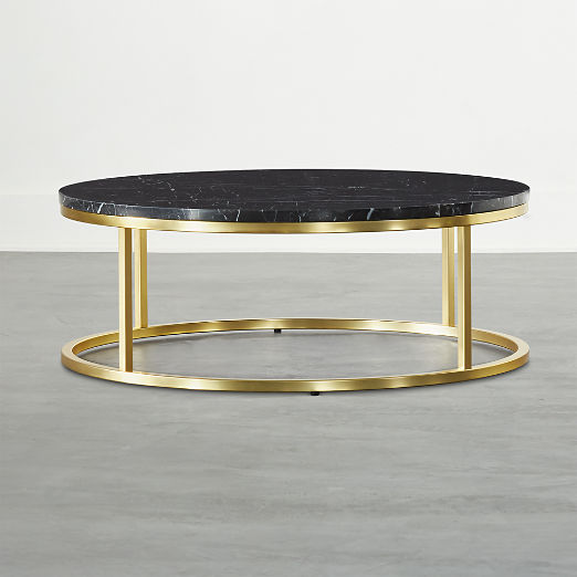 Smart Brass Coffee Table with Black Marble Top