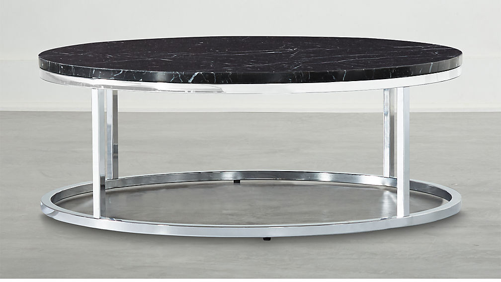 Smart Chrome Coffee Table with Black Marble Top - Image 1 of 4