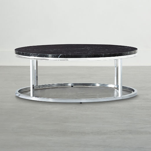 Smart Chrome Coffee Table with Black Marble Top