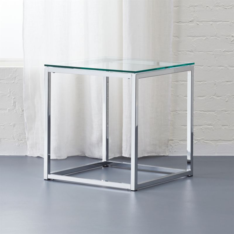 Lovely End Table Glass #15 - Smart Chrome And Glass Side Table + Reviews | CB2