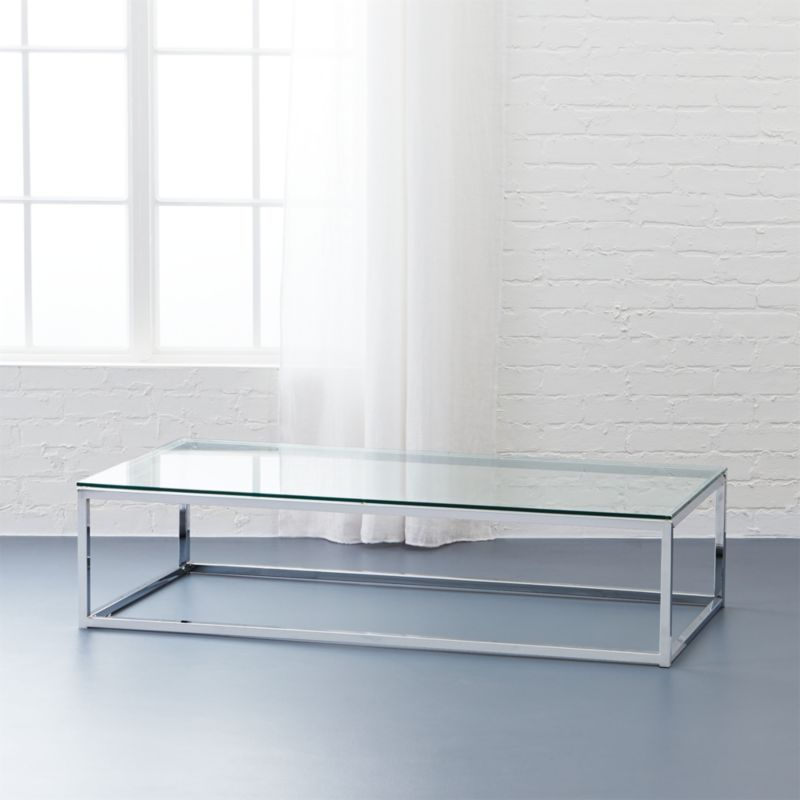 Smart Glass Chrome And Glass Coffee Table Reviews CB - Coffee table depth