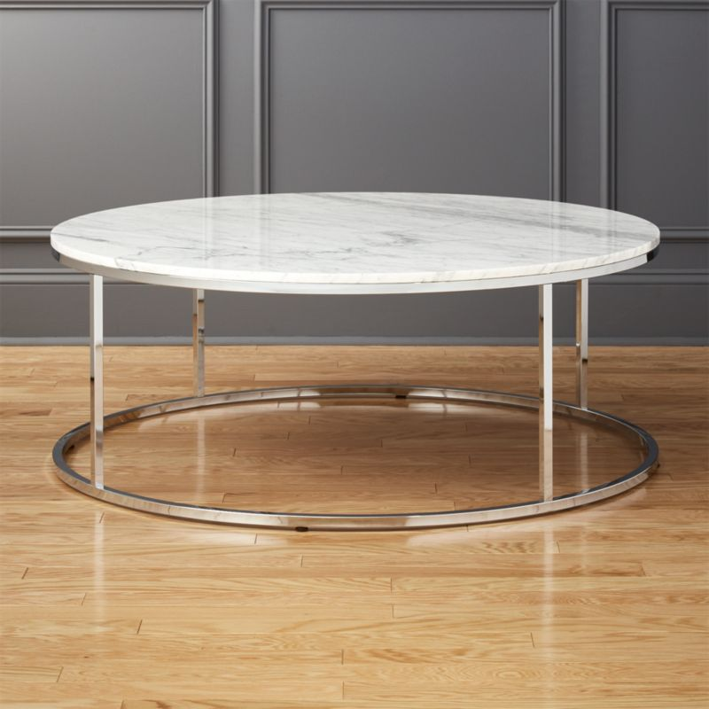 Delightful Smart Large Round Marble Top Coffee Table