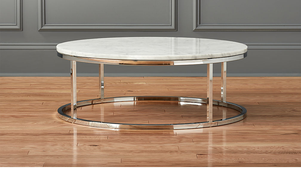 smart round marble top coffee table + reviews | cb2