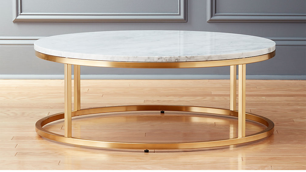 smart round marble brass coffee table reviews cb2. Black Bedroom Furniture Sets. Home Design Ideas