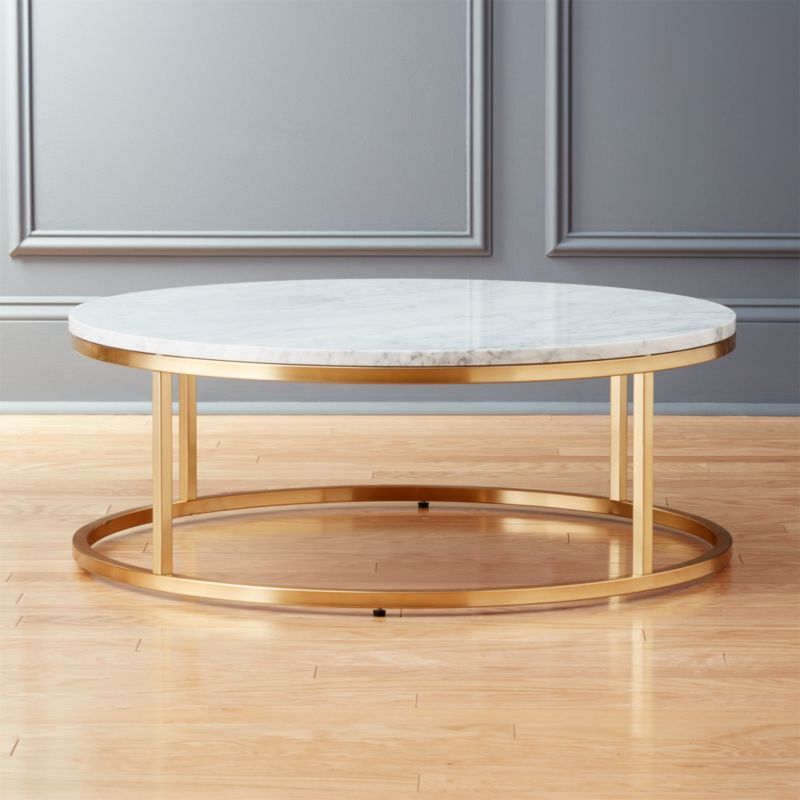 Klein Marble Coffee Table: Smart Round Marble Brass Coffee Table + Reviews