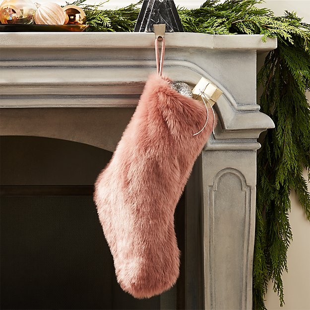 Faux Fur Dusty Rose Stocking - Image 1 of 6