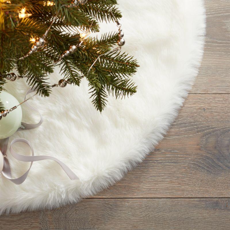 white faux fur tree skirt cb2