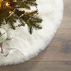 Large White Faux Fur Tree Skirt Reviews Cb2