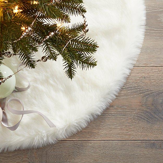 "24"" White Faux Fur Tree Skirt - Image 1 of 3"
