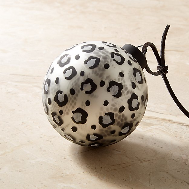 Snow Leopard Black and White Ornament - Image 1 of 5
