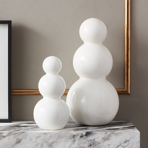 White Glass Snowmen