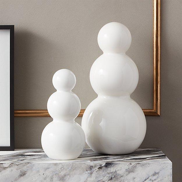 White Glass Snowmen - Image 1 of 5
