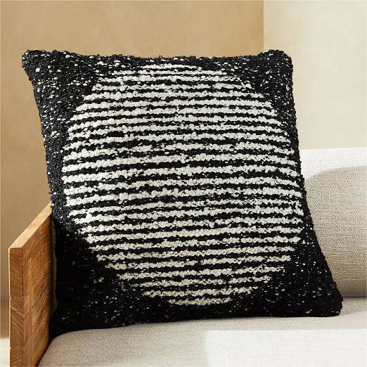 """20"""" Soleil White and Black Outdoor Pillow"""