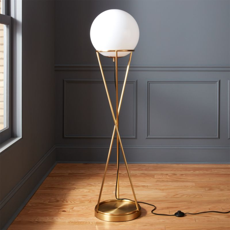 Gold floor lamps cb2 solis globe floor lamp aloadofball Image collections