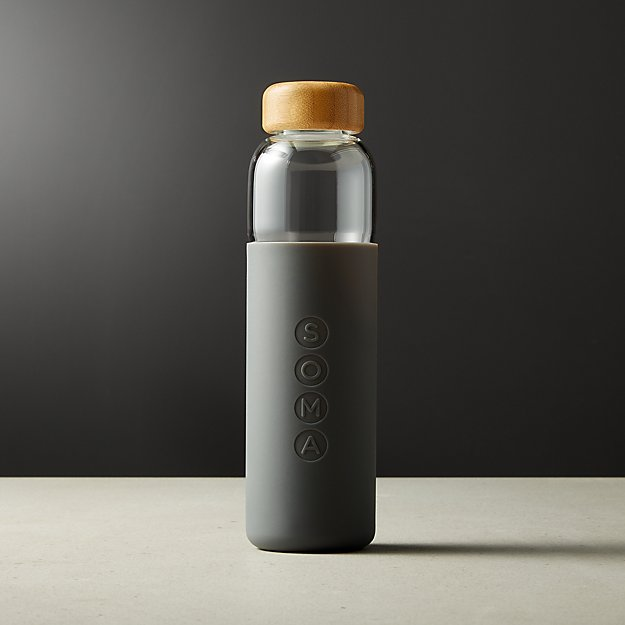 Soma V2 Grey Glass Water Bottle - Image 1 of 2