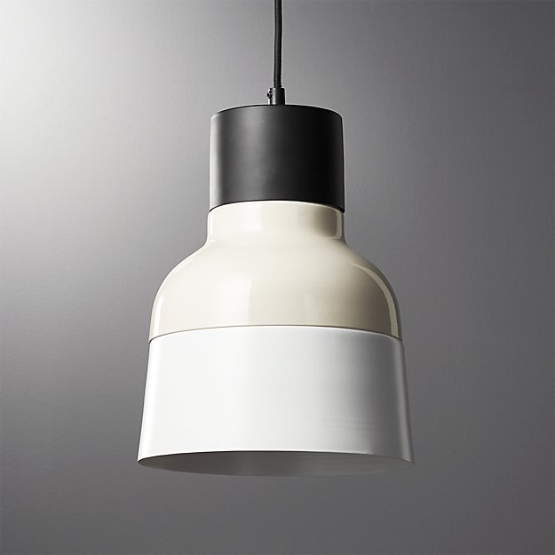 Soso Tan and White Metal Pendant Light - Image 1 of 8