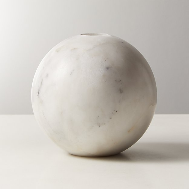 Sphere White Marble Taper Candle Holder - Image 1 of 4